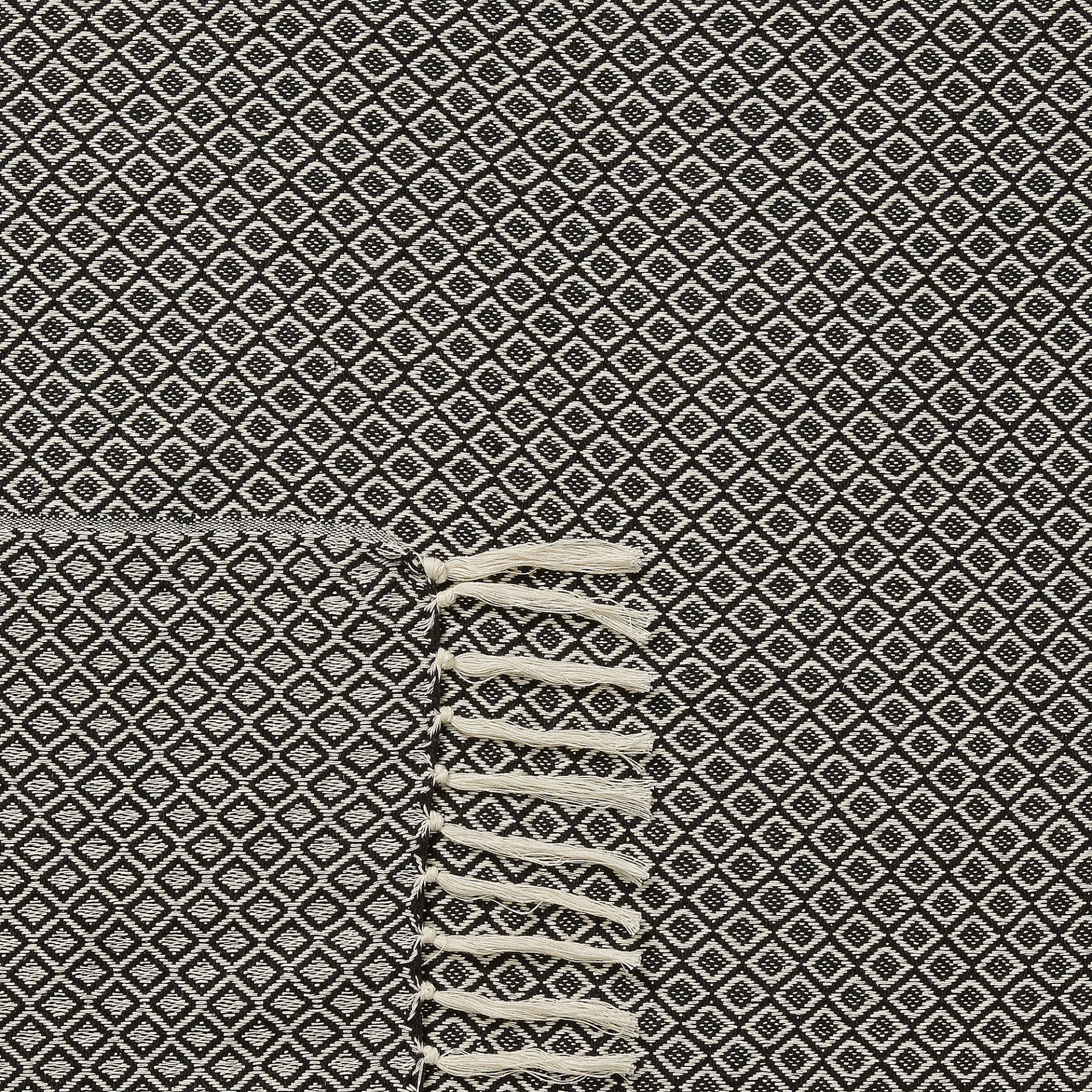 Manta c/franjas, algodão, preto/bege, 130x170 cm