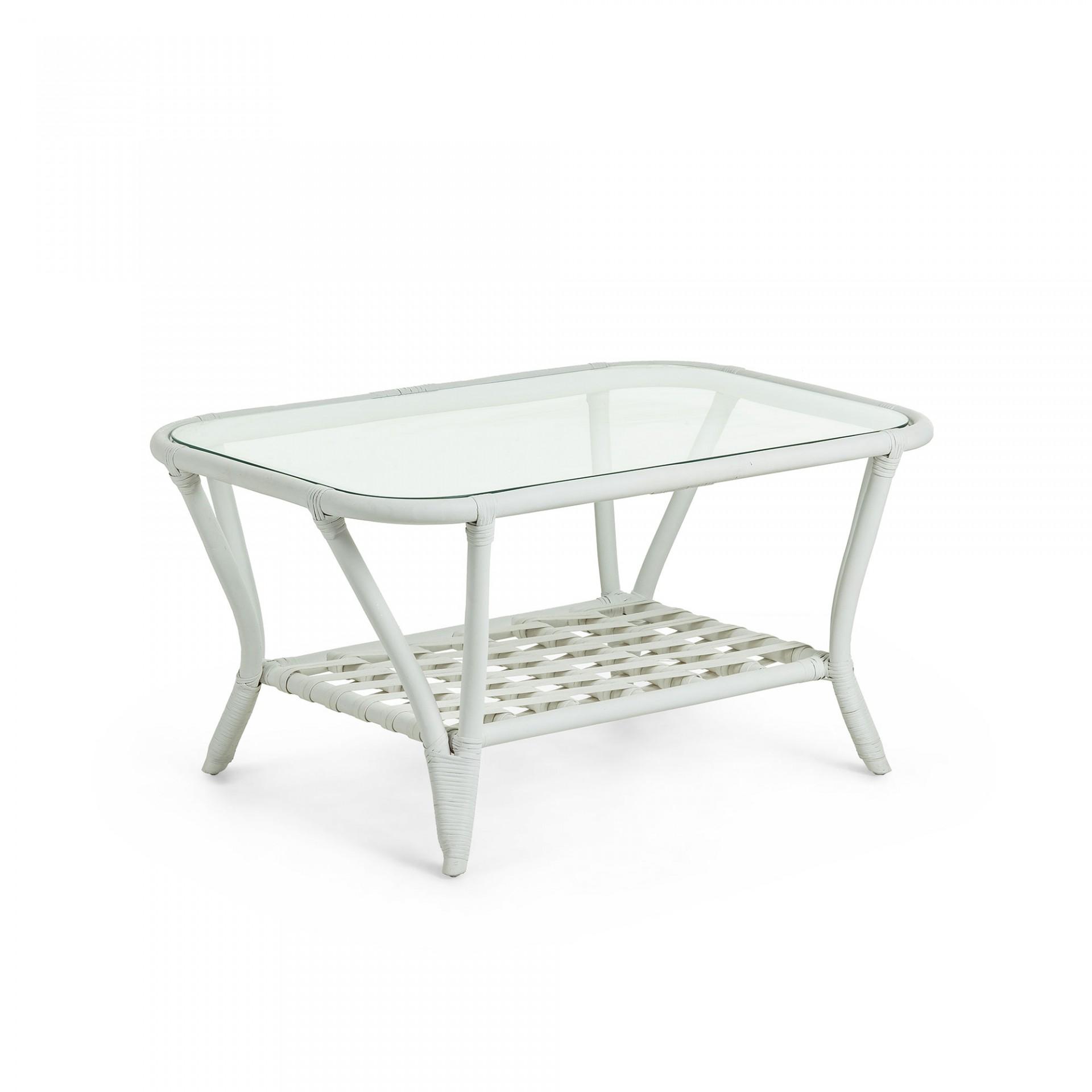 Mesa de centro em vime natural, c/tampo em vidro, 60x90 cm