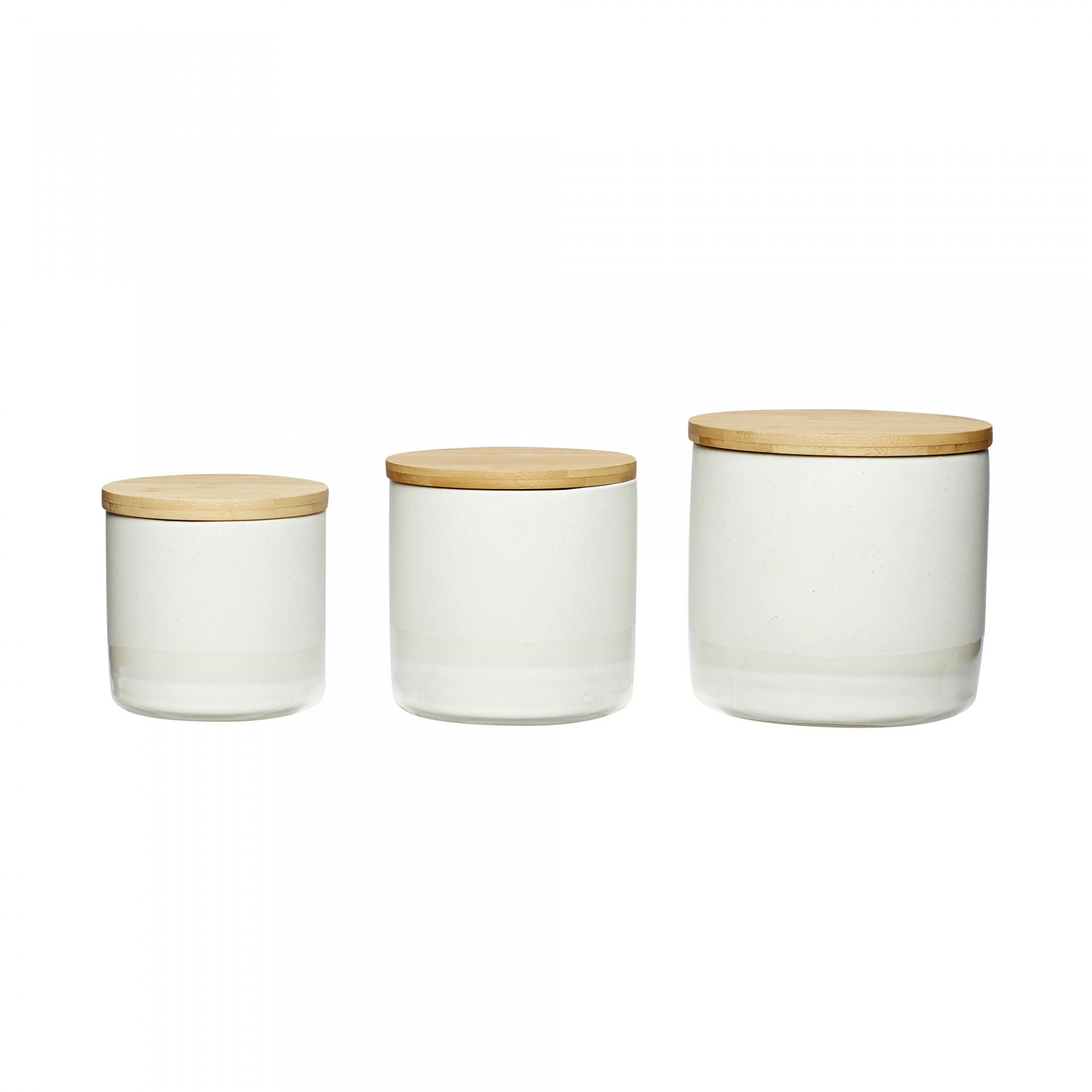 Potes em cerâmica c/tampa de madeira, (Conj.3)