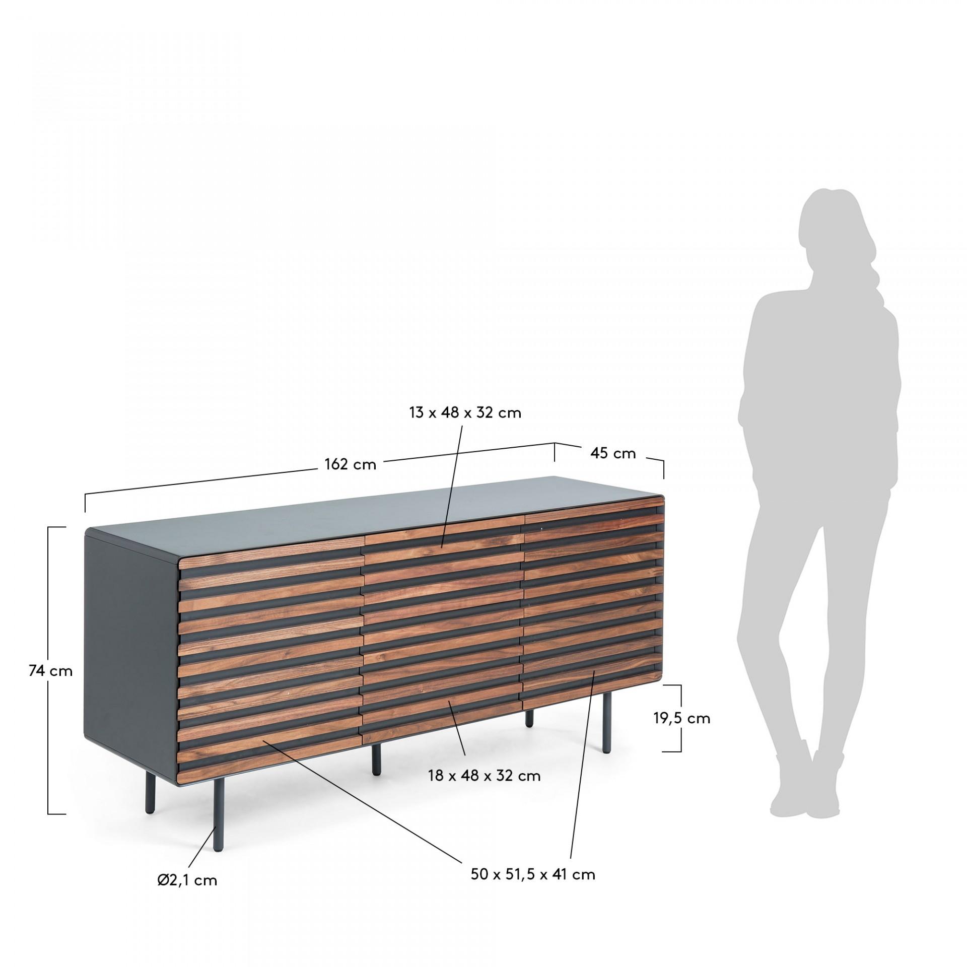 Aparador, madeira de nogueira/MDP lacado, 74x162 cm