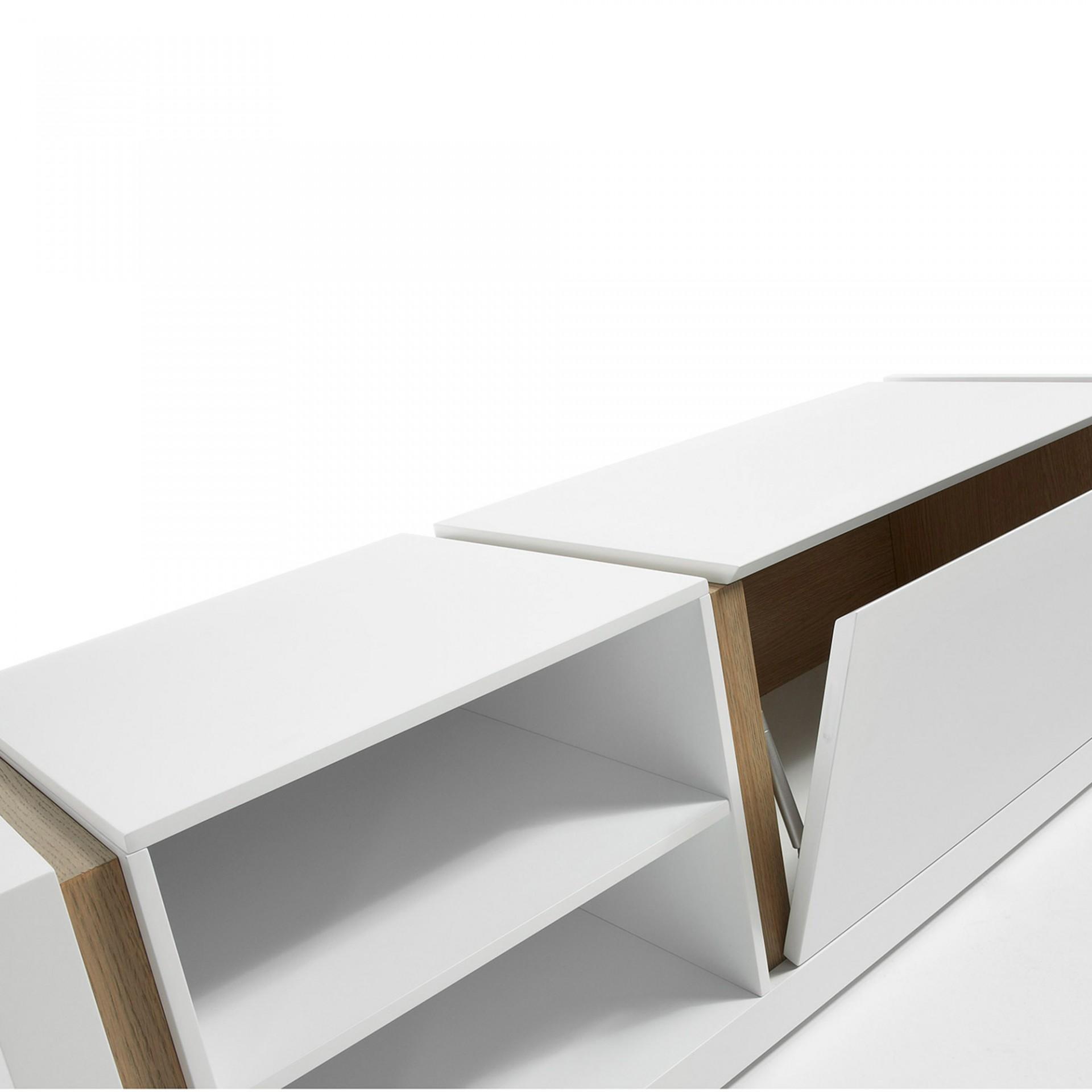 Móvel de TV em madeira de carvalho/MDP lacado, 42x140 cm