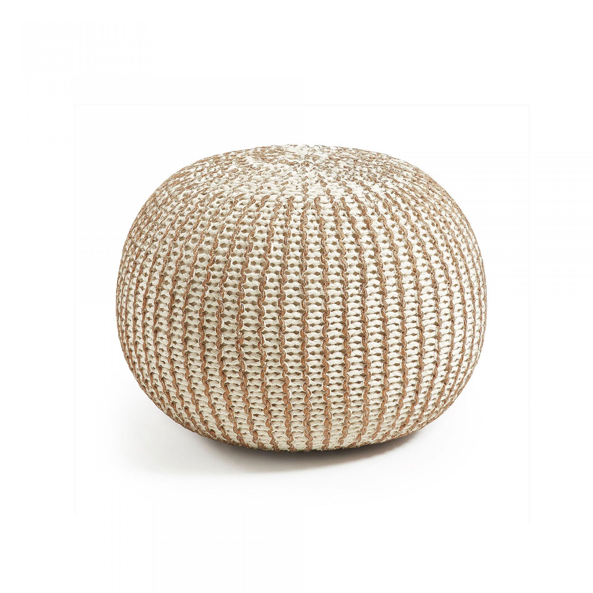Puff em malha de croché, branco/dourado, Ø45x35 cm