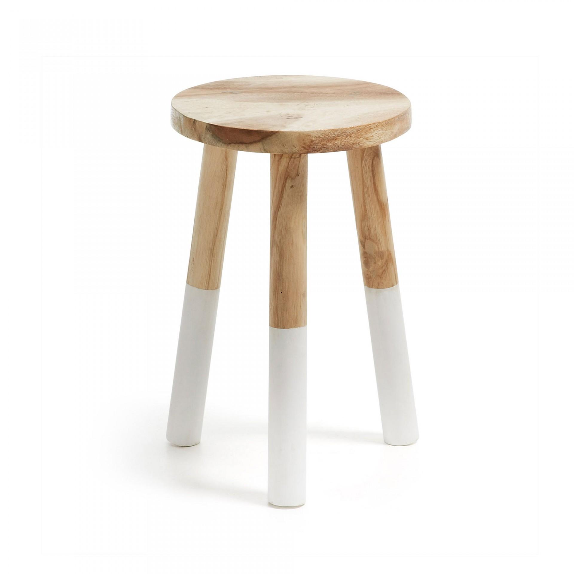 Banco de apoio, madeira munggur natural, Ø30x44 cm