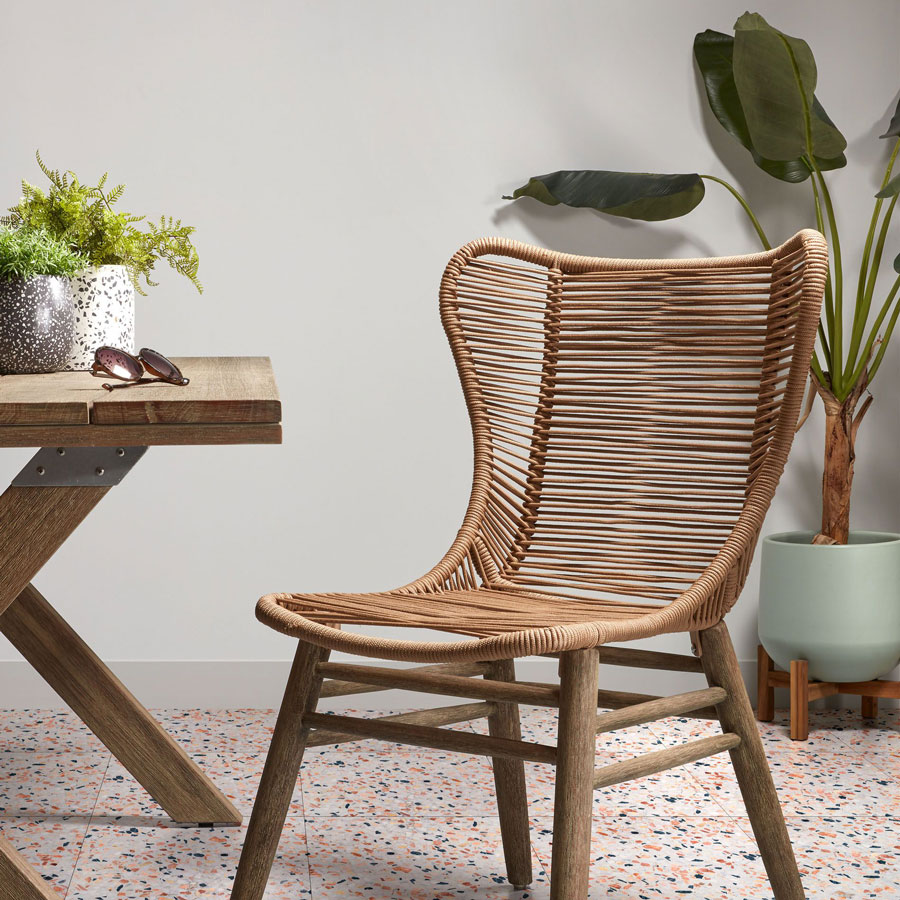 Vaso em cerâmica c/suporte em madeira de acácia, Ø29x37 cm
