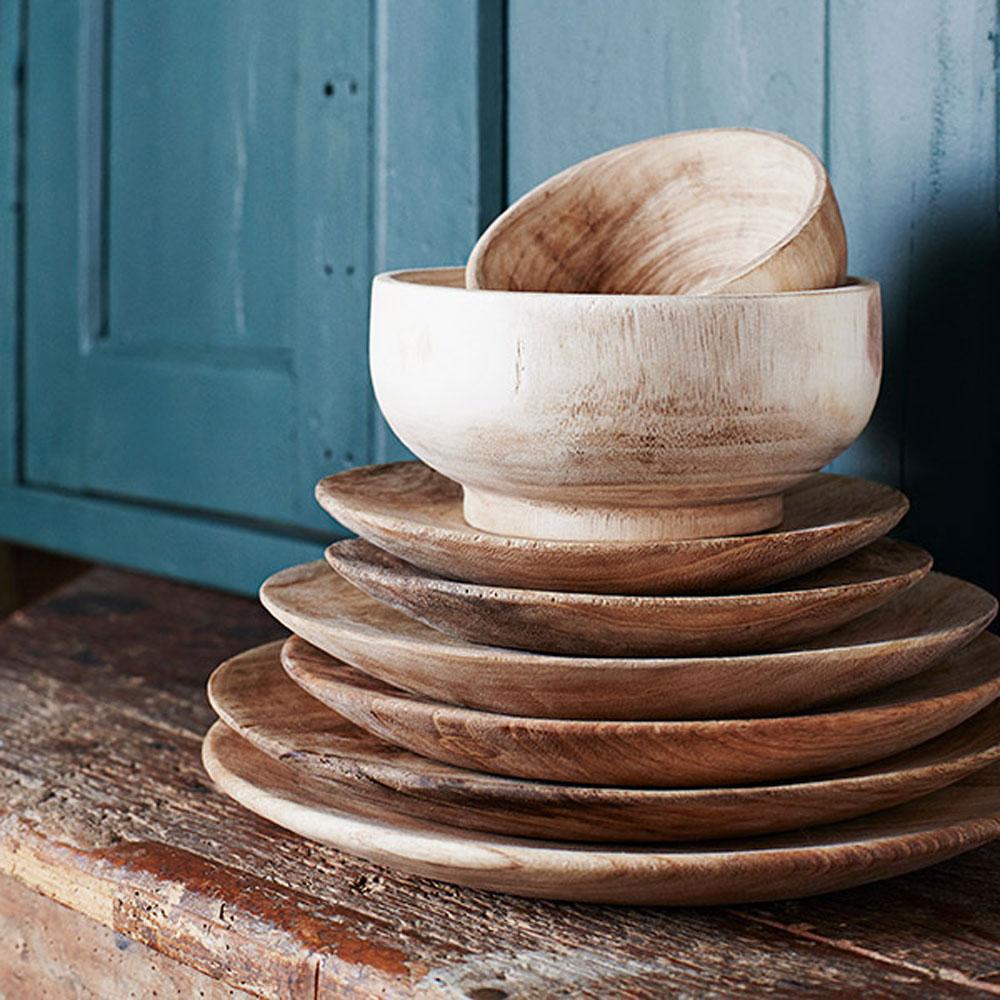 Pratos em madeira Paulownia, (Conj.3)