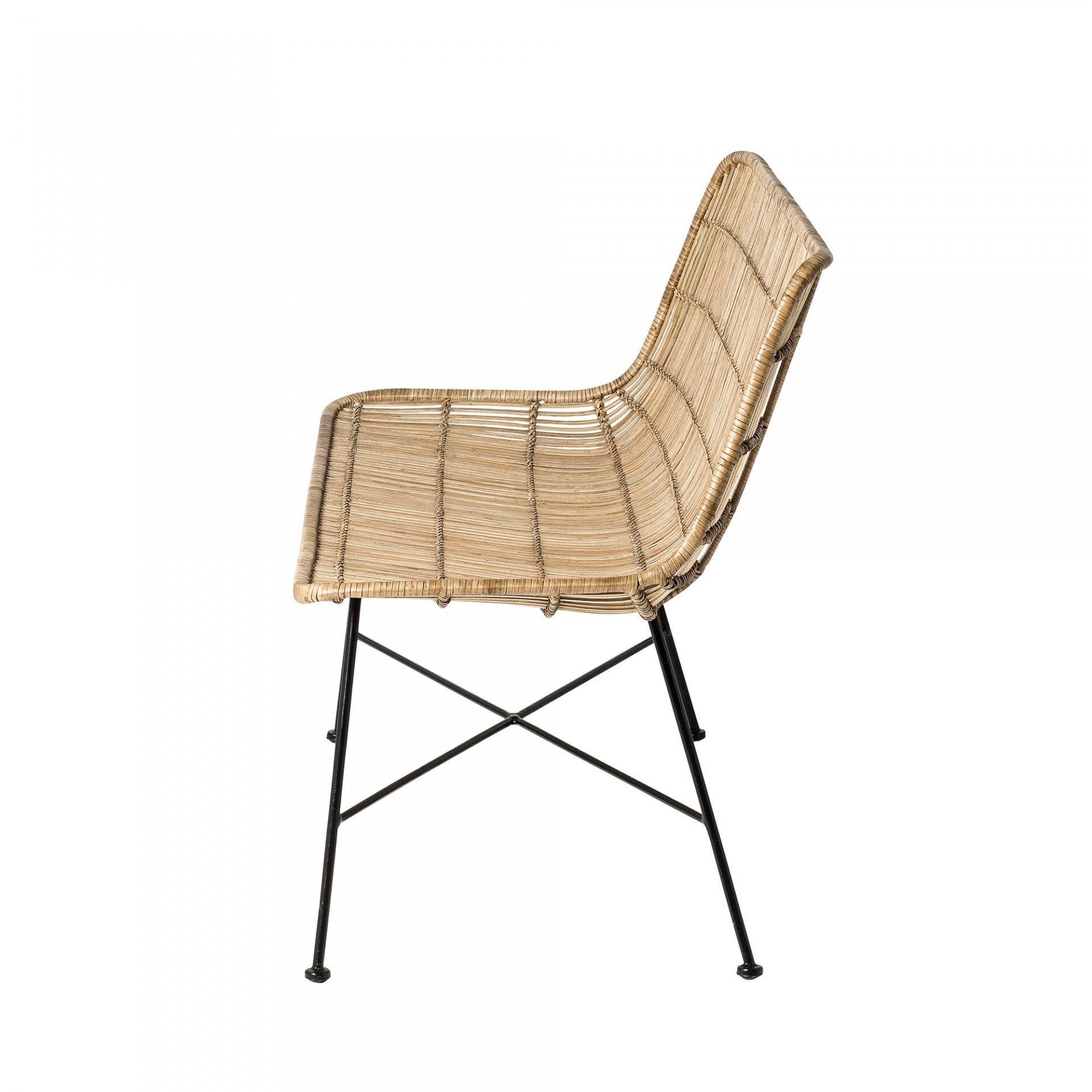 Sofá Dom, vime natural/metal, 60x120 cm