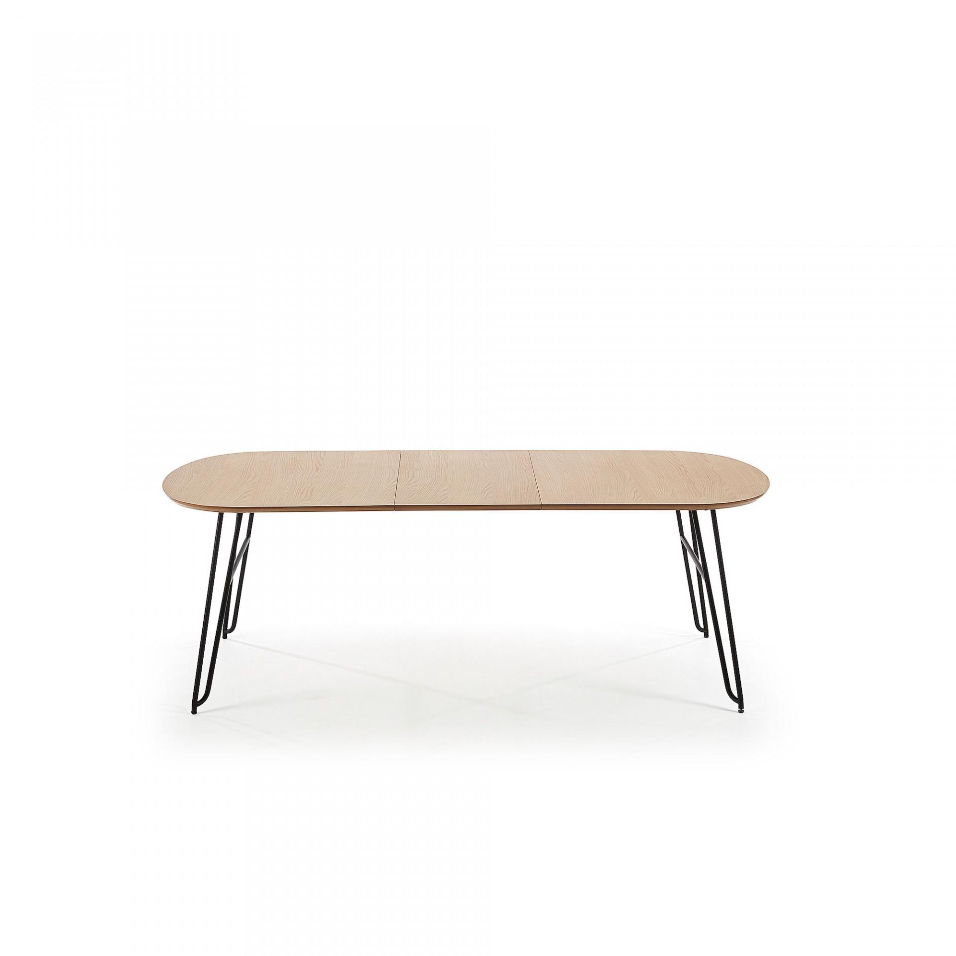 Mesa extensível, madeira de carvalho/metal, 140(220)x90 cm