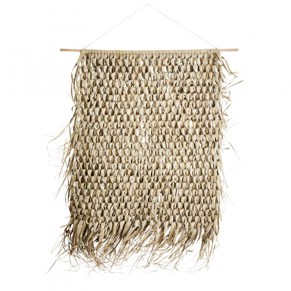 Macramé em folha de palmeira, 125x150 cm