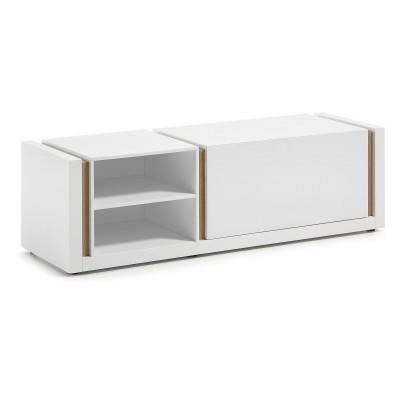 Móvel de TV em madeira de carvalho/MDP lacado, 140x42 cm