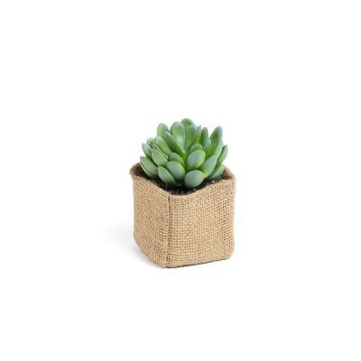 Planta artificial, c/bolsa em linho, 9x11 cm