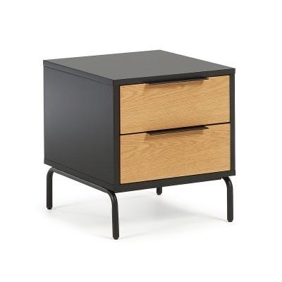 Mesa de cabeceira em madeira de carvalho/MDF lacado, 50x42 cm