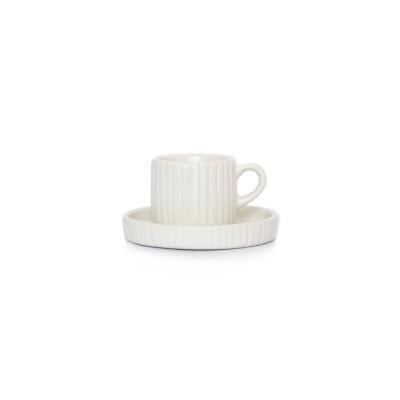 Chávena c/pires em vidrado mate, branco