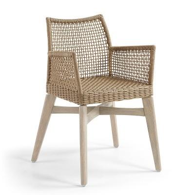 Cadeira c/braços em madeira acácia, bege