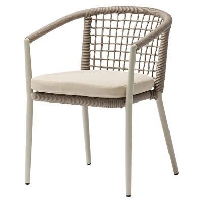 Cadeira Tialvi, alumínio/vime sintético, bege, 60x58x78