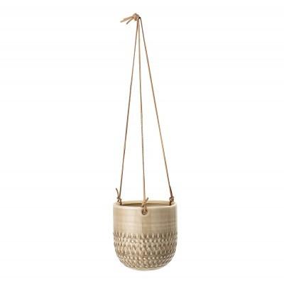 Vaso suspenso, cerâmica/couro, bege, Ø15x15x65