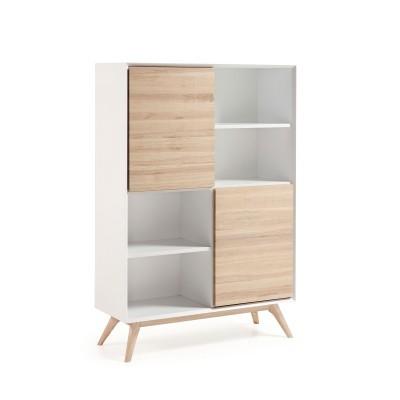 Estante c/portas, madeira, branco, 152x104 cm