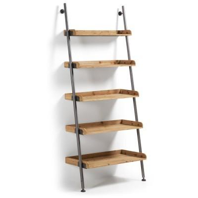 Estante em madeira de pinho abeto/metal, 86x200 cm