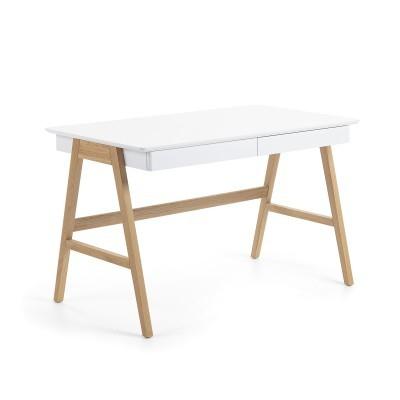 Secretária em madeira de carvalho/MDF lacado, 60x120 cm