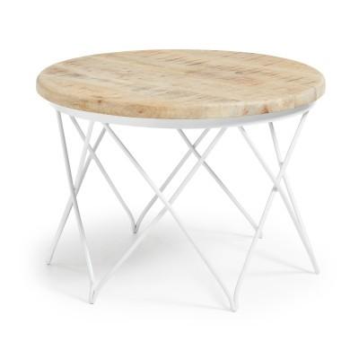 Mesa de centro em madeira de mangueira/metal, Ø65x46 cm