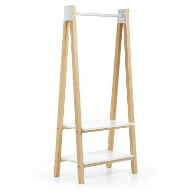 Cabide/sapateira em madeira de freixo, branco, 180x89 cm