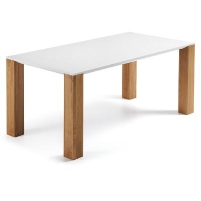 Mesa de jantar em madeira de carvalho e MDF lacado, 180x90 cm