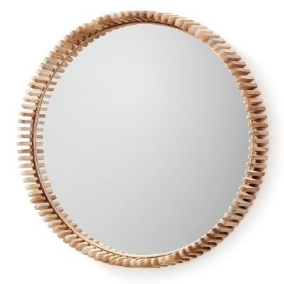 Espelho em madeira teca, Ø85 cm