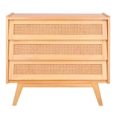 Cómoda Mutto, madeira de pinho/vime, 91x40x81