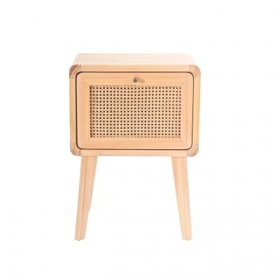 Mesa de cabeceira Mutto, madeira de pinho/vime, 50x69 cm