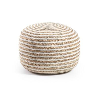 Puff listrado em juta/algodão, Ø50x35 cm