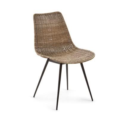 Cadeira em rattan/metal, 46x83 cm