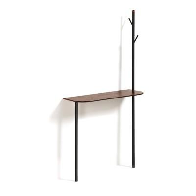 Consola Marcol, c/cabide, nogueira/metal, 80x160 cm