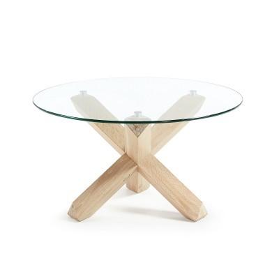 Mesa de centro em madeira de carvalho c/tampo em vidro, Ø65x45 cm