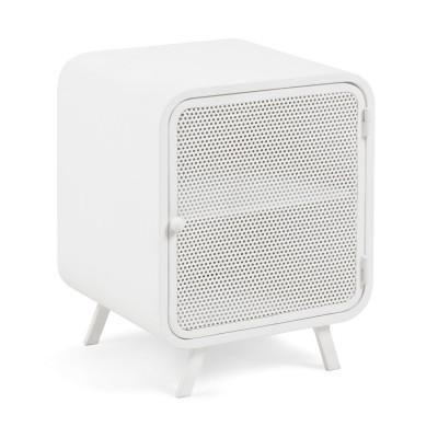 Mesa de cabeceira em metal, branco, 54x42 cm