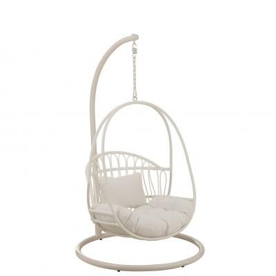 Cadeira suspensa p/criança, metal/vime, branco, 103x93x155