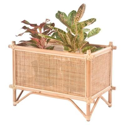 Suporte para vasos, bambú/vime natural, 36,5x71 cm