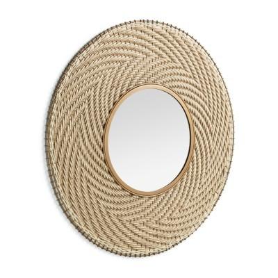 Espelho Roseberg, corda/metal, dourado, Ø80,5 cm