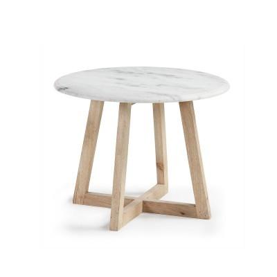 Mesa auxiliar em mármore e madeira manga