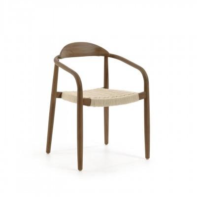 Cadeira Mina, madeira de eucalipto/corda poliéster, bege