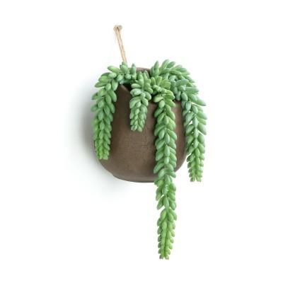 Planta artificial, c/vaso cimento, p/pendurar, Ø13x38 cm