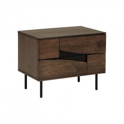 Mesa de cabeceira Cutte, madeira de nogueira/metal, 60x40x51