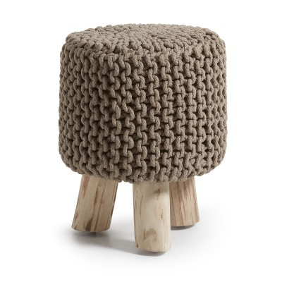 Banco em madeira de eucalipto, c/forro em malha de croché, Ø34x41 cm