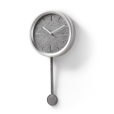Relógio de parede com pêndulo, cor prata, Ø24x49 cm
