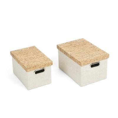 Caixas de arrumação em tecido/cortiça, branco, (Conj.2)
