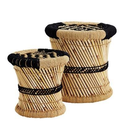 Mesas de apoio Pampus, bambú/juta natural, (Conj.2)