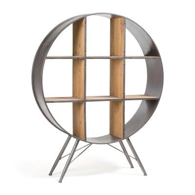 Estante redonda, madeira de abeto/metal, Ø120x152 cm