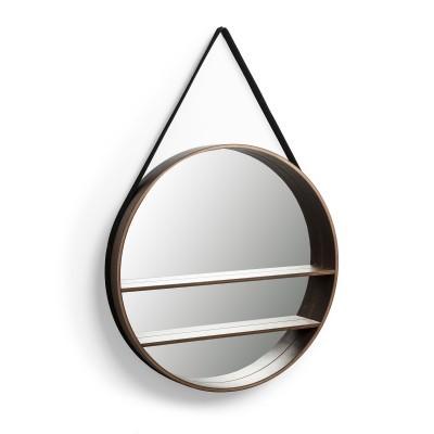 Espelho c/prateleiras, nogueira/nylon, Ø58,5 cm
