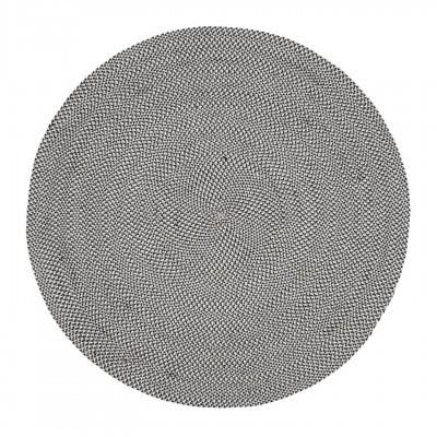 Tapete Rod, anti-alérgico, PET reciclado, preto/cinza, Ø150 cm