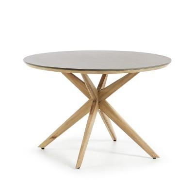 Mesa em madeira/poli-cimento, Ø120X76cm