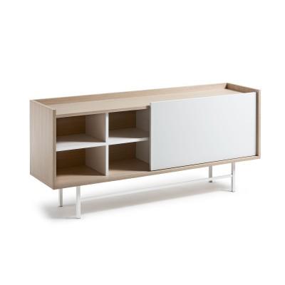 Aparador em madeira de carvalho, branco, 70x155 cm