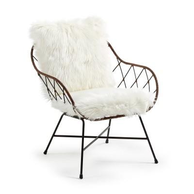 Cadeira Vison em metal/rattan c/pele branca